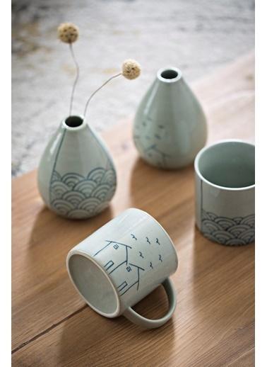 Warm Design Seramik El-Boyaması Vazo Beyaz